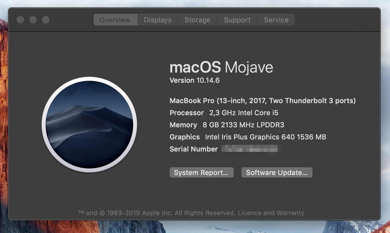 Macbook 2017, 256GB